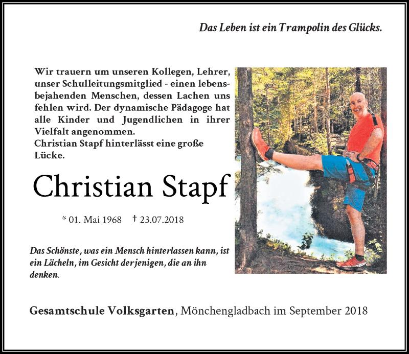 Anzeige von  Christian Stapf