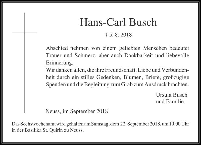 Anzeige von  Hans-Carl Busch