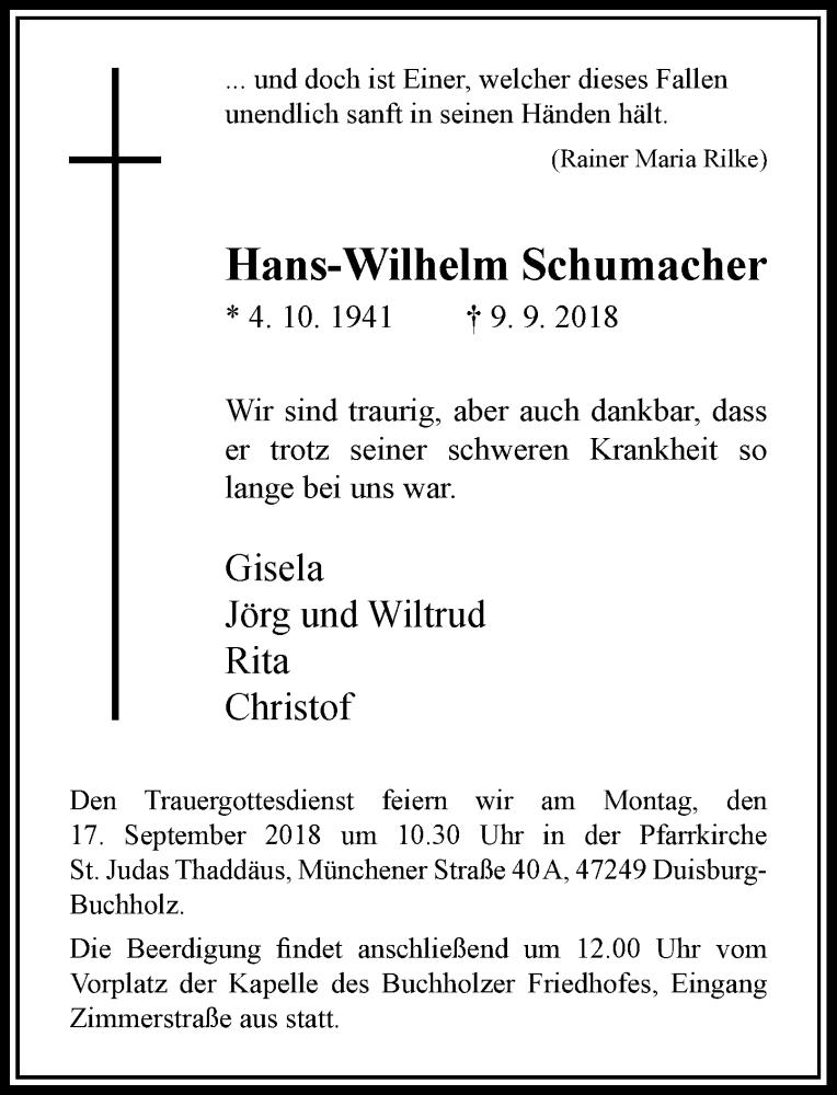 Anzeige von  Hans-Wilhelm Schumacher
