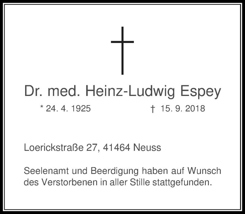 Anzeige von  Heinz-Ludwig Espey