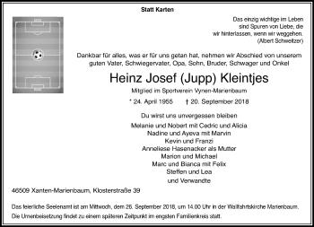 Traueranzeige von Heinz Josef Jupp Kleintjes von Rheinische Post