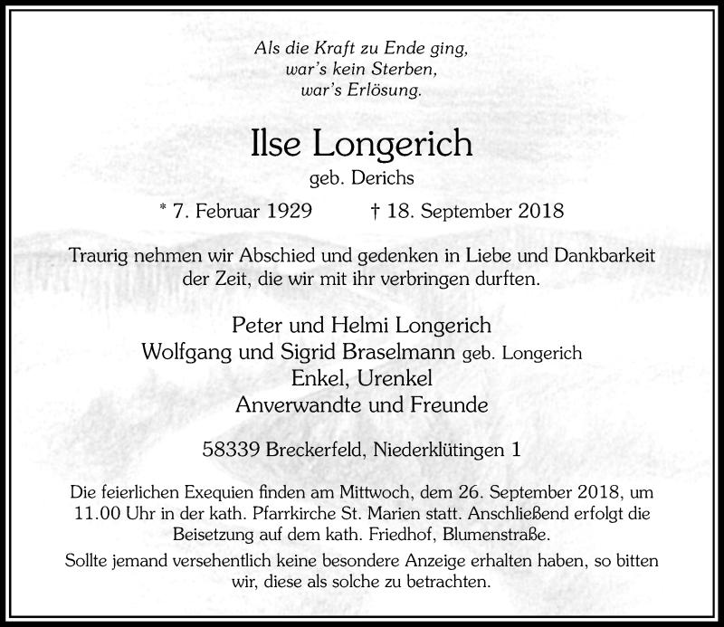 Anzeige von  Ilse Longerich