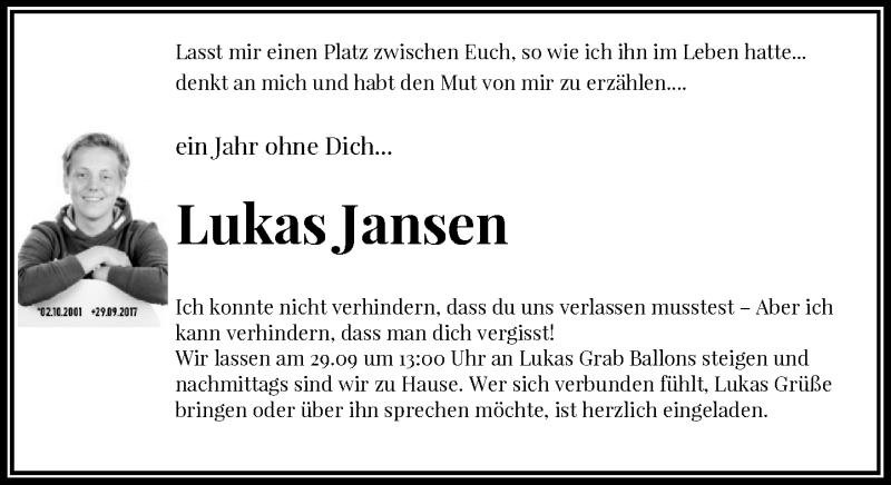 Anzeige von  Lukas Jansen