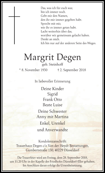 Traueranzeige von Margrit Degen von Rheinische Post