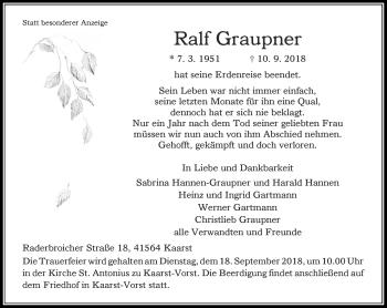 Traueranzeige von Ralf Graupner von Rheinische Post