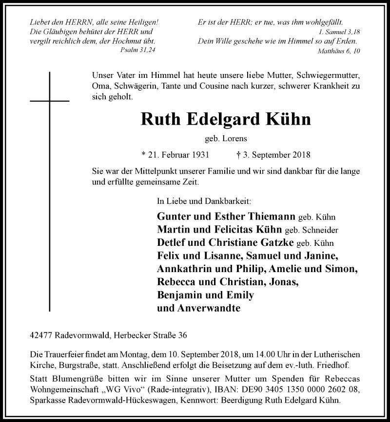 Anzeige von  Ruth Edelgard Kühn