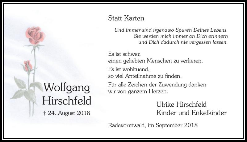Anzeige von  Wolfgang Hirschfeld