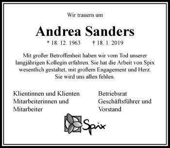 Traueranzeige von Andrea Sanders von Rheinische Post
