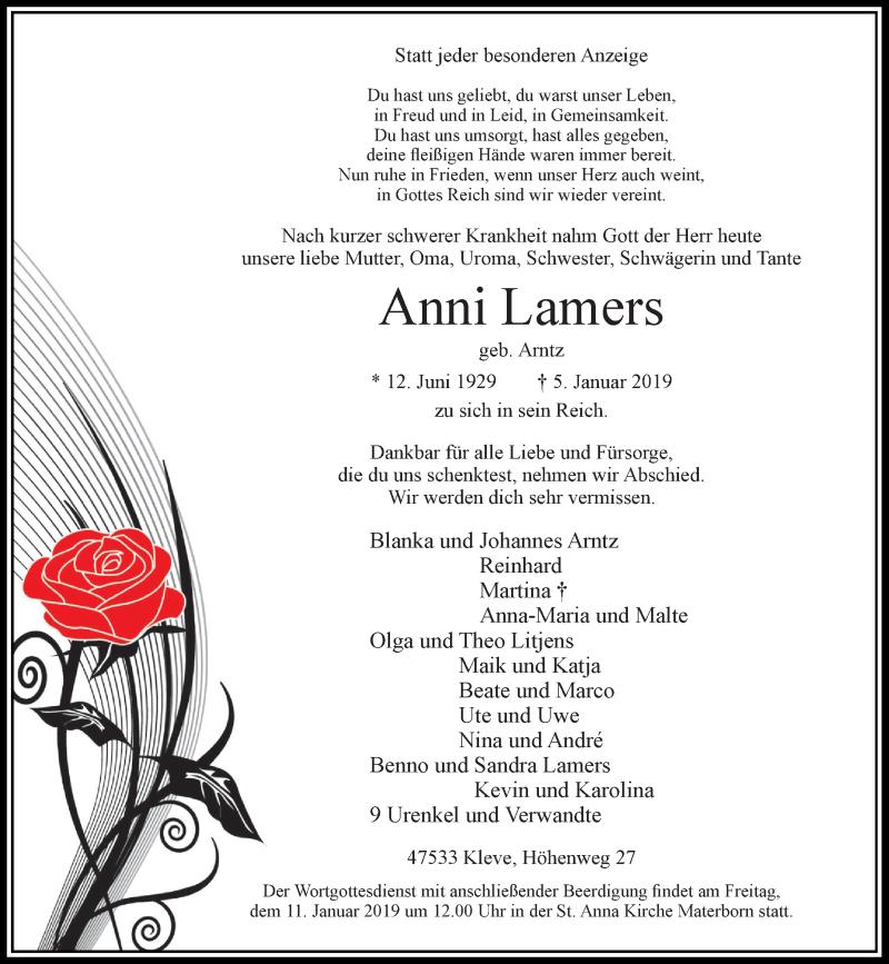 Anzeige von  Anni Lamers