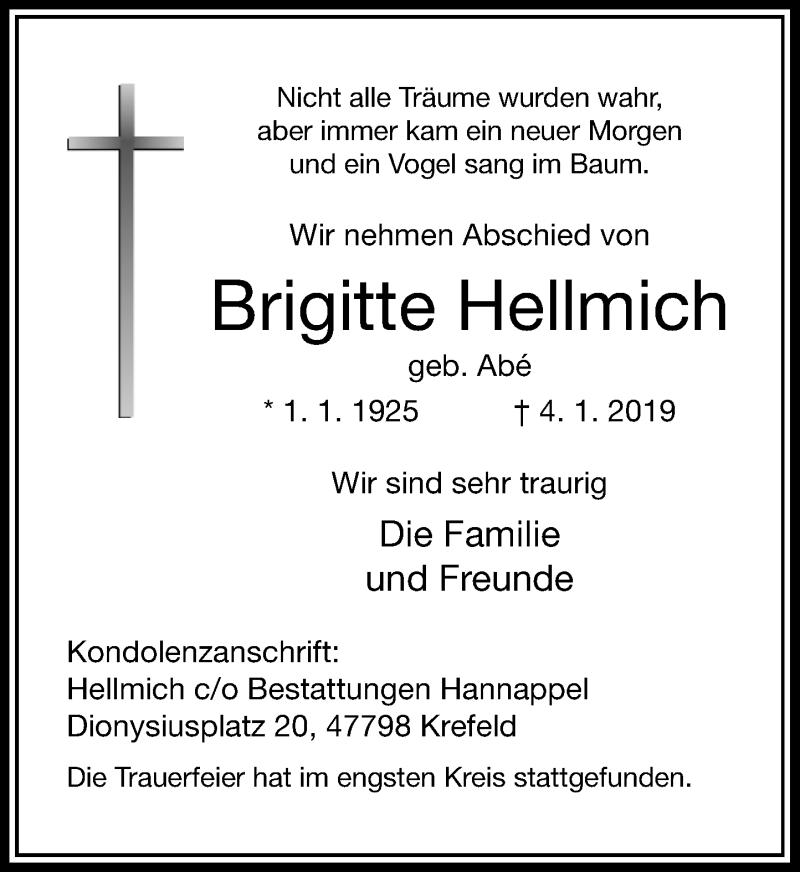 Traueranzeige für Brigitte Hellmich vom 16.01.2019 aus Rheinische Post