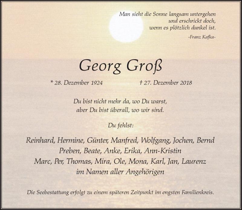 Anzeige von  Georg Groß