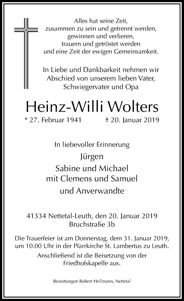 Traueranzeige für Heinz-Willi Wolters vom 26.01.2019 aus Rheinische Post