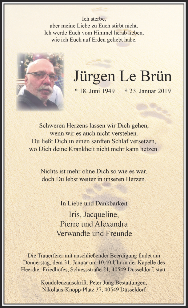 Anzeige von  Jürgen LeBrün