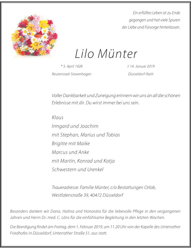 Anzeige von  Lilo Münter