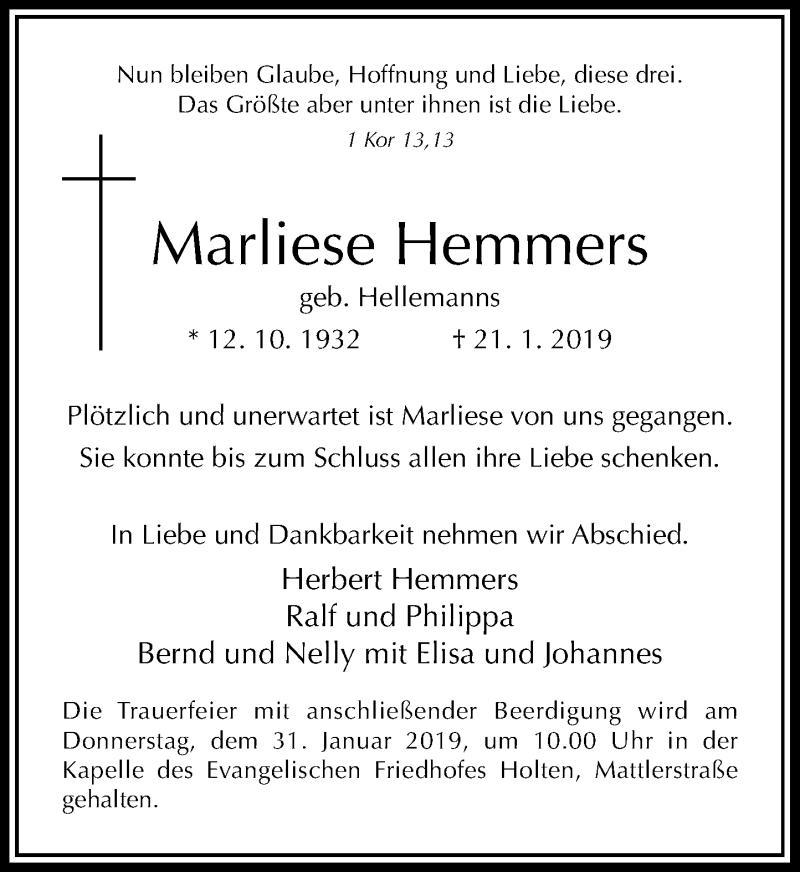 Anzeige von  Marliese Hemmers