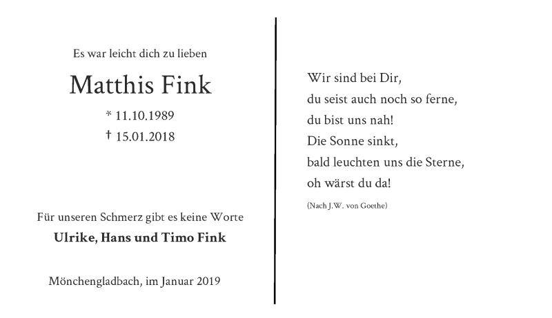 Traueranzeige für Matthis Fink vom 12.01.2019 aus Rheinische Post