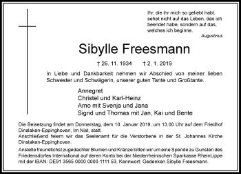 Traueranzeige von Sibylle Freesmann von Rheinische Post