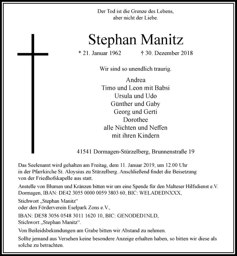 Traueranzeige für Stephan Manitz vom 05.01.2019 aus Rheinische Post