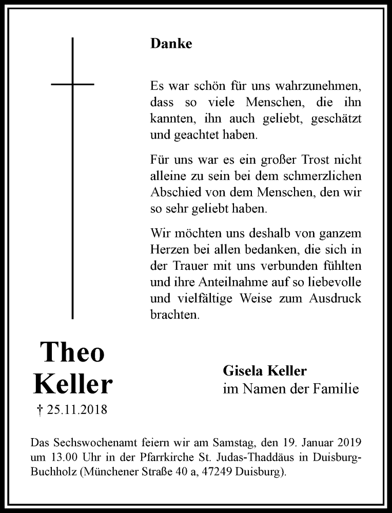 Traueranzeige für Theo Keller vom 12.01.2019 aus Rheinische Post