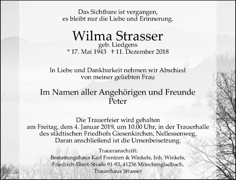 Anzeige von  Wilma Strasser
