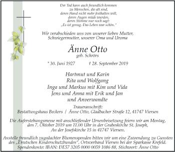 Traueranzeige von Änne Otto von Rheinische Post