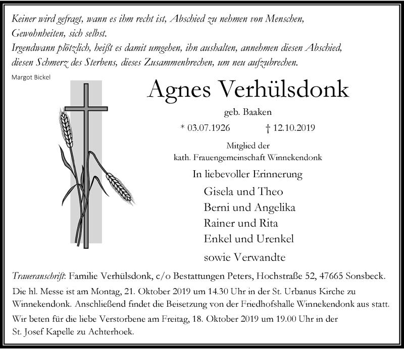 Anzeige von  Agnes Verhülsdonk