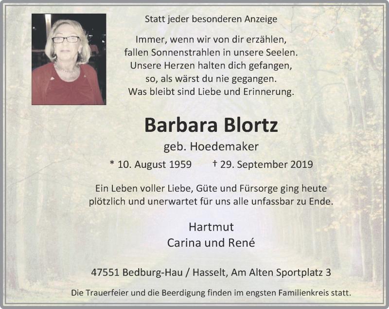 Anzeige von  Barbara Blortz