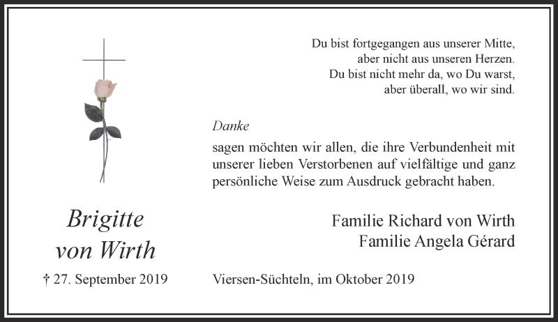 Anzeige von  Brigitte von Wirth