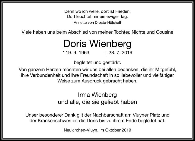 Anzeige von  Doris Wienberg