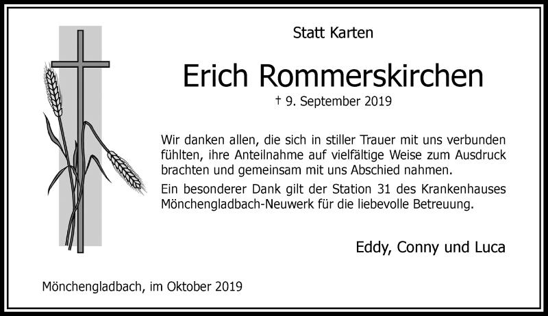 Anzeige von  Erich Rommerskirchen
