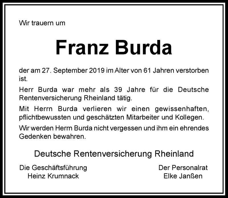 Anzeige von  Franz Burda