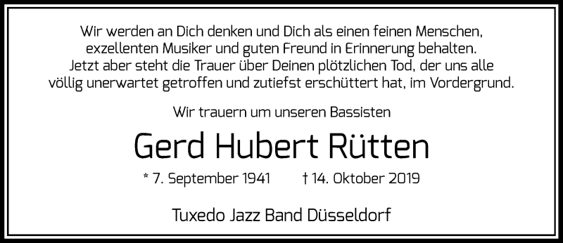 Anzeige von  Gerd Hubert Rütten