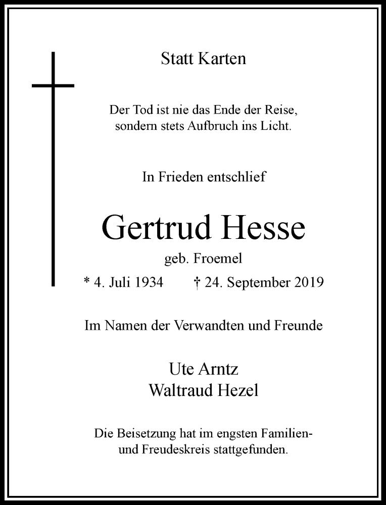 Anzeige von  Gertrud Hesse