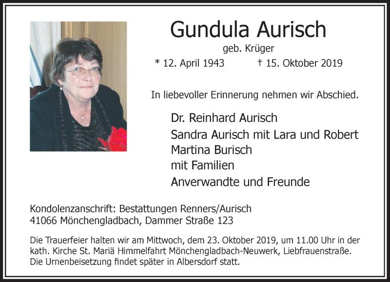 Anzeige von  Gundula Aurisch