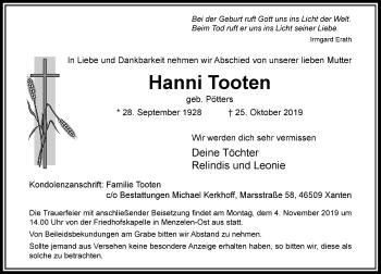 Traueranzeige von Hanni Tooten von Rheinische Post