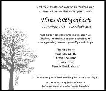 Traueranzeige von Hans Büttgenbach von Rheinische Post