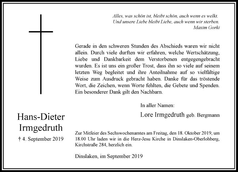 Anzeige von  Hans-Dieter Irmgedruth