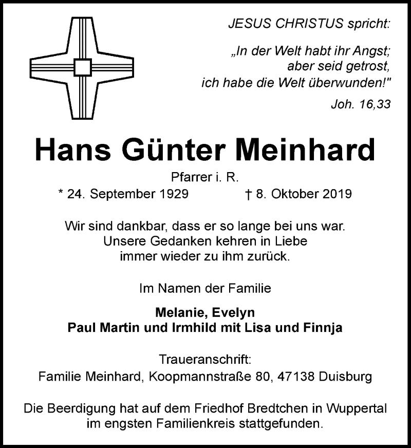 Traueranzeige für Hans Günter Meinhard vom 26.10.2019 aus Rheinische Post