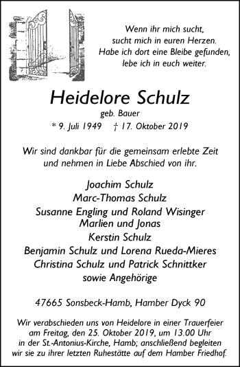 Traueranzeige von Heidelore Schulz von Rheinische Post