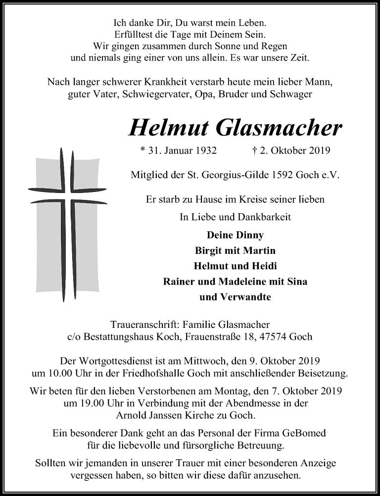 Traueranzeige für Helmut Glasmacher vom 05.10.2019 aus Rheinische Post