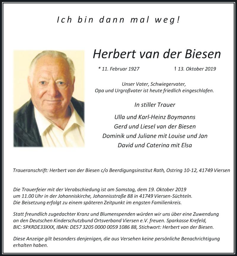 Anzeige von  Herbert van der Biesen