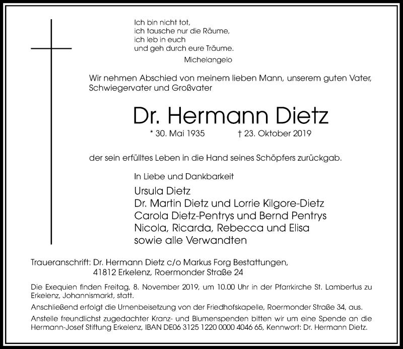 Traueranzeige für Hermann Dietz vom 02.11.2019 aus Rheinische Post