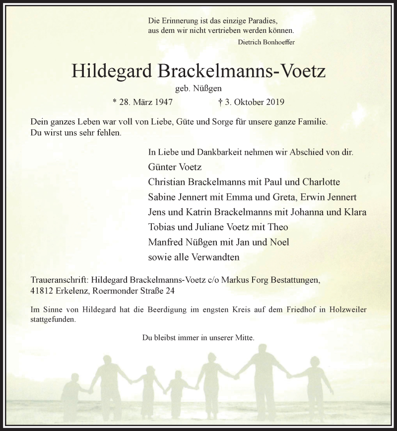 Anzeige von  Hildegard Brackelmanns-Voetz
