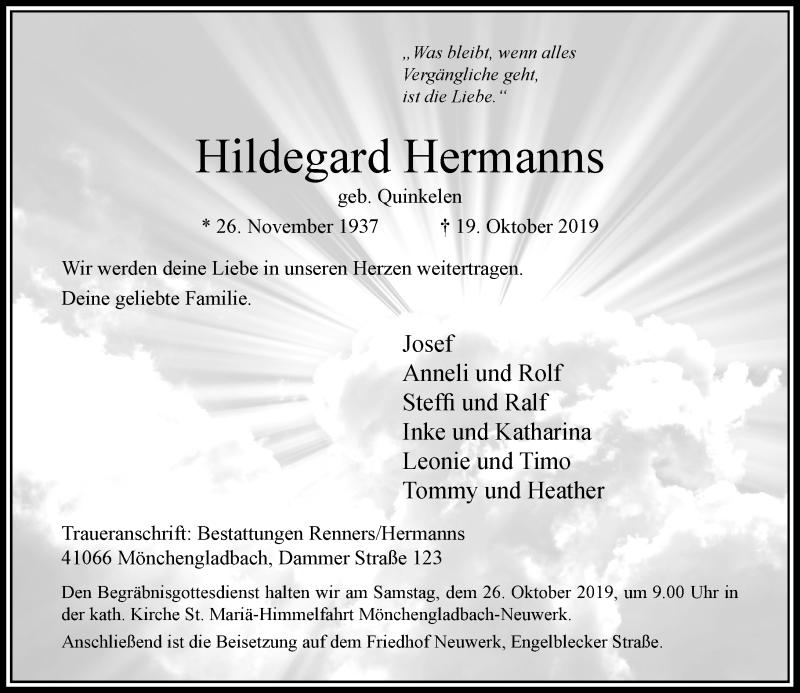 Anzeige von  Hildegard Hermanns