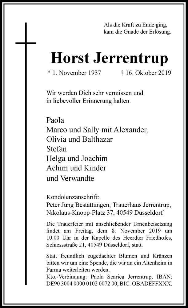 Anzeige von  Horst Jerrentrup