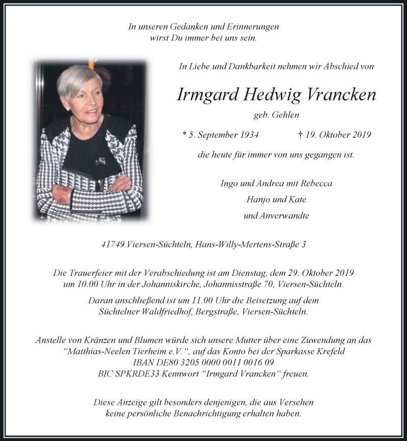 Anzeige von  Irmgard Hedwig Vrancken