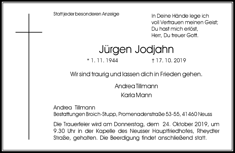 Traueranzeige für Jürgen Jodjahn vom 19.10.2019 aus Rheinische Post