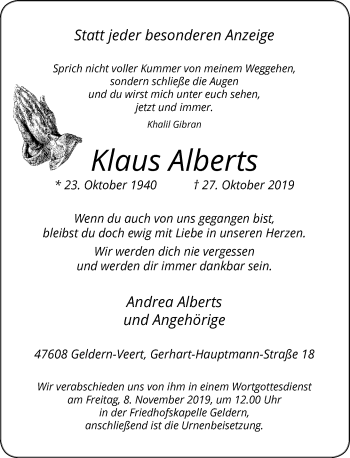 Traueranzeige von Klaus Alberts von Rheinische Post