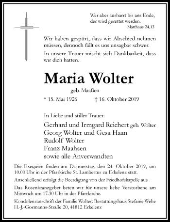 Traueranzeige von Maria Wolter von Rheinische Post