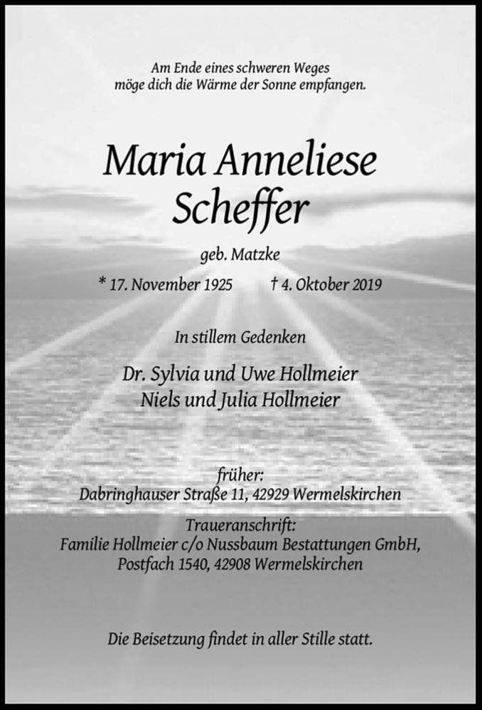 Anzeige von  Maria Anneliese Scheffer